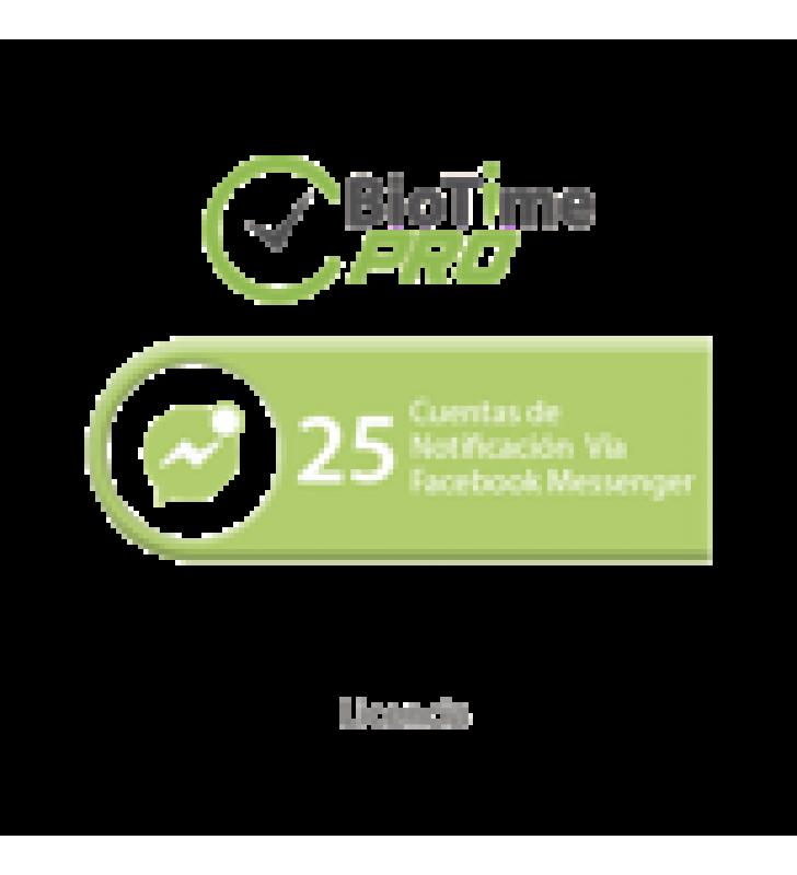SOFTWARE DE GESTION CENTRALIZADA DE ASISTENCIA BIOTIMEPRO LICENCIA PARA AGREGAR 25 CUENTAS DE NOTIFICACION VIA FACEBOOK MESSENGER
