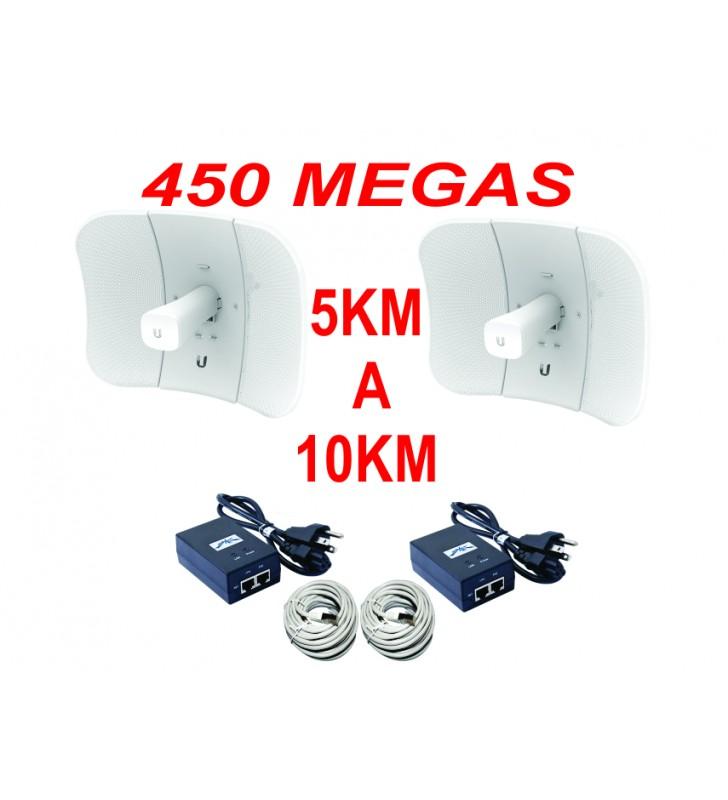 ENLACE INTERNET PUNTO PUNTO 5KM A 10KM Y 450 MEGAS PAQUETE